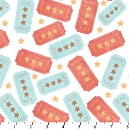 Yellow Circus Tickets Quilting Cotton Fabric by Hallmark