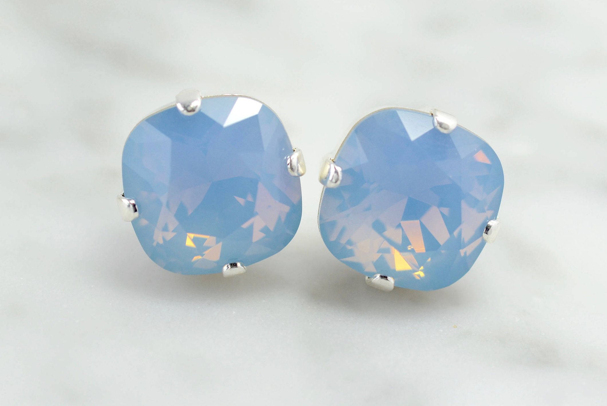 467952498e2c A dreamy opal blue! Air Blue Opal earrings - Light Blue crystal earrings -  swarovski jewellery - square silver stud earrings - something blue - gift  ...