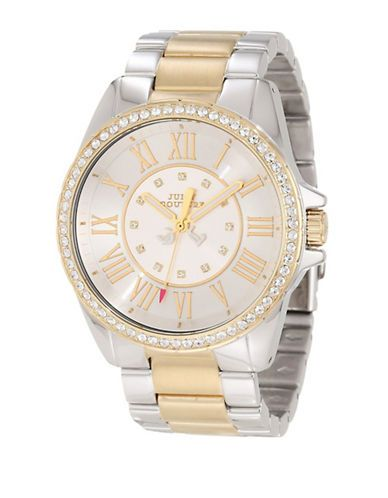 Juicy Couture Ladies Two-Tone Bracelet Band and Crystal Bezel Watch Wo