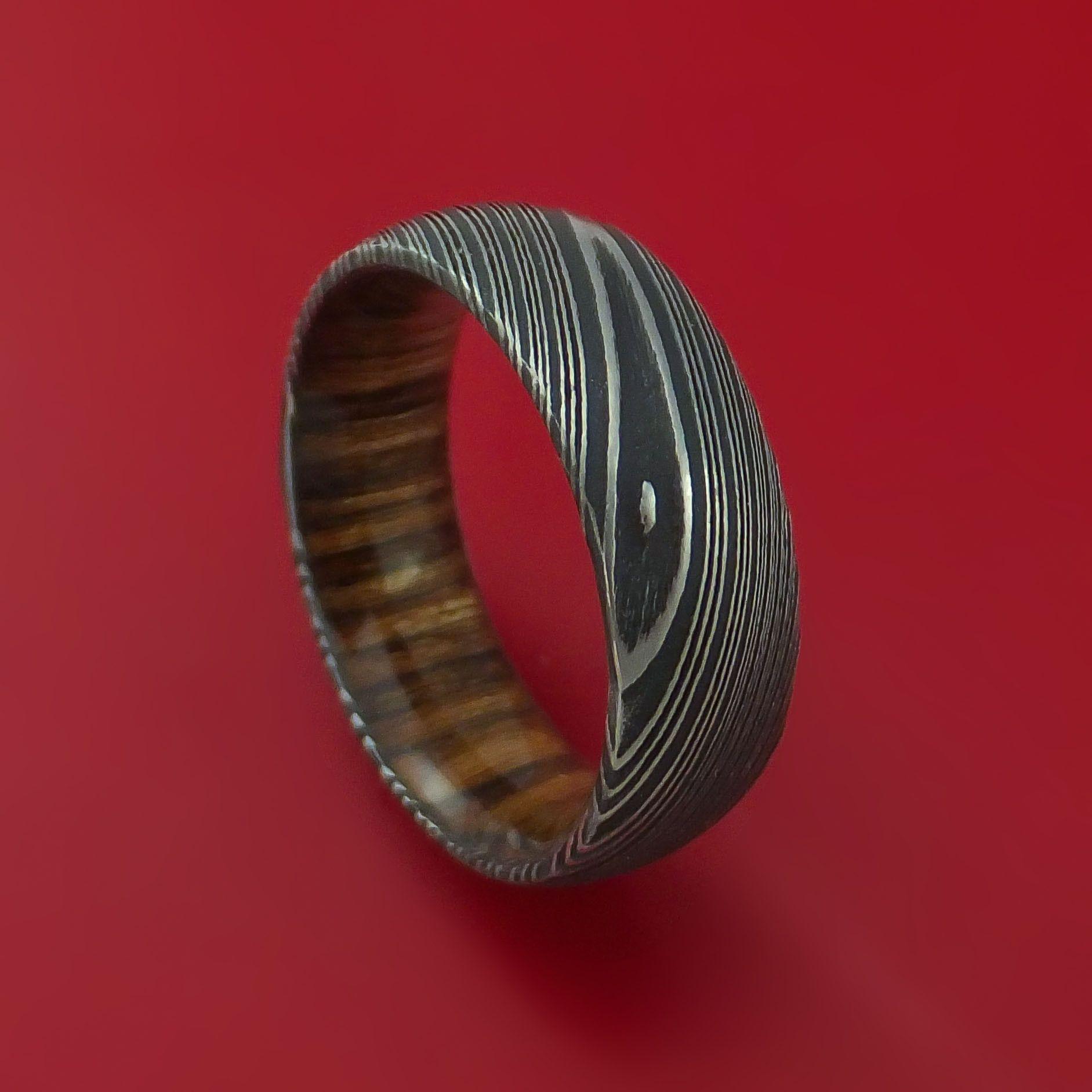 Kuro Damascus Steel Ring with Walnut Hardwood Sleeve Custom Made