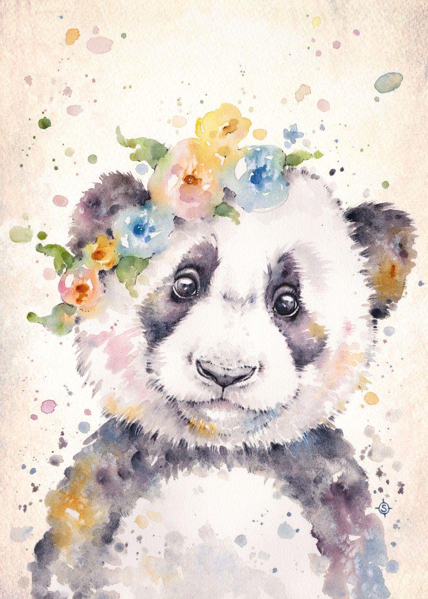 Little Panda Water Colour Art Animals Poster Print Metal