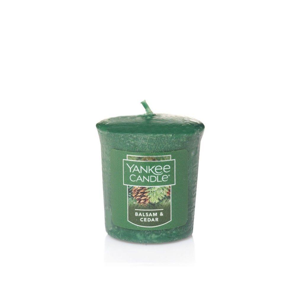 Yankee candle votive candle balsam u cedar dark green