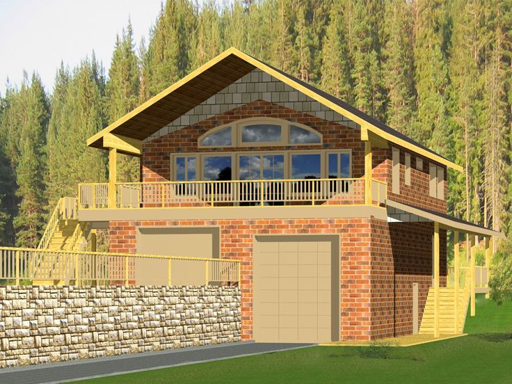 012g 0085 Unique Rv Garage Apartment Plan For A Sloping Lot Carriage House Plans Shed House Plans Shed Homes