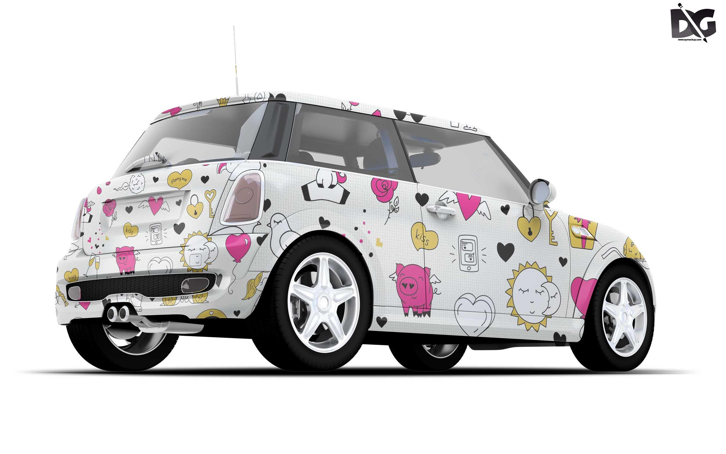Free Beautiful Mini Car Wrap Mockup Car wrap, Mockup
