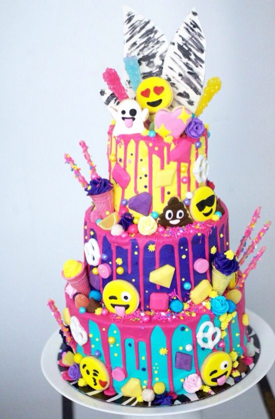 Emoji Cake Birthday Theme Girl 12