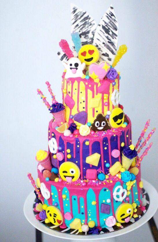 Emoji Cake Birthday Theme Girl 12 Bday In 2018 Pinterest