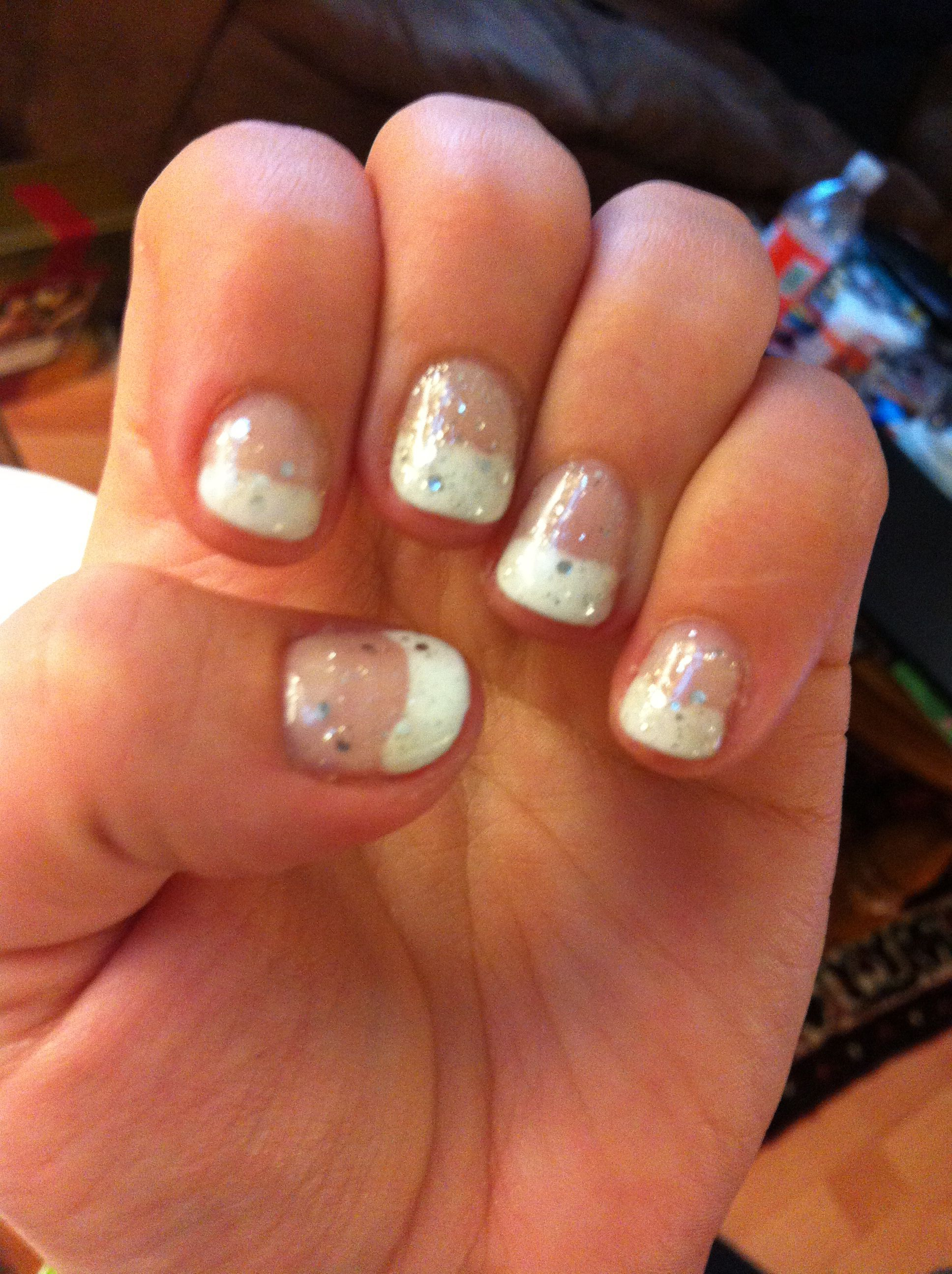French manicure for short nails. Silver glitter! | Nails ...