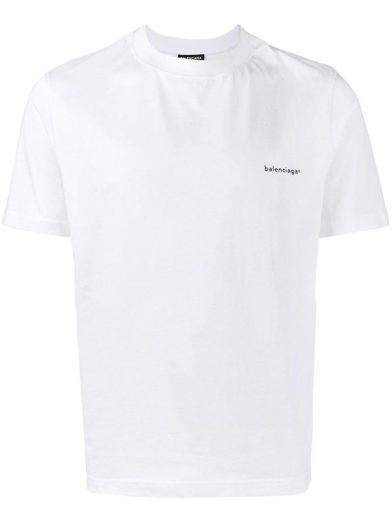 Logo Print Jersey Classic White T Shirt In 9000 White Balenciaga T Shirt Mens Shirts Mens Tshirts