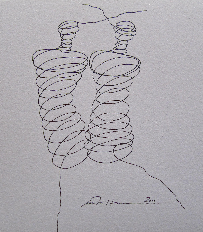 Åse Margrethe Hansen/Innviklet, 2010. Ink drawing