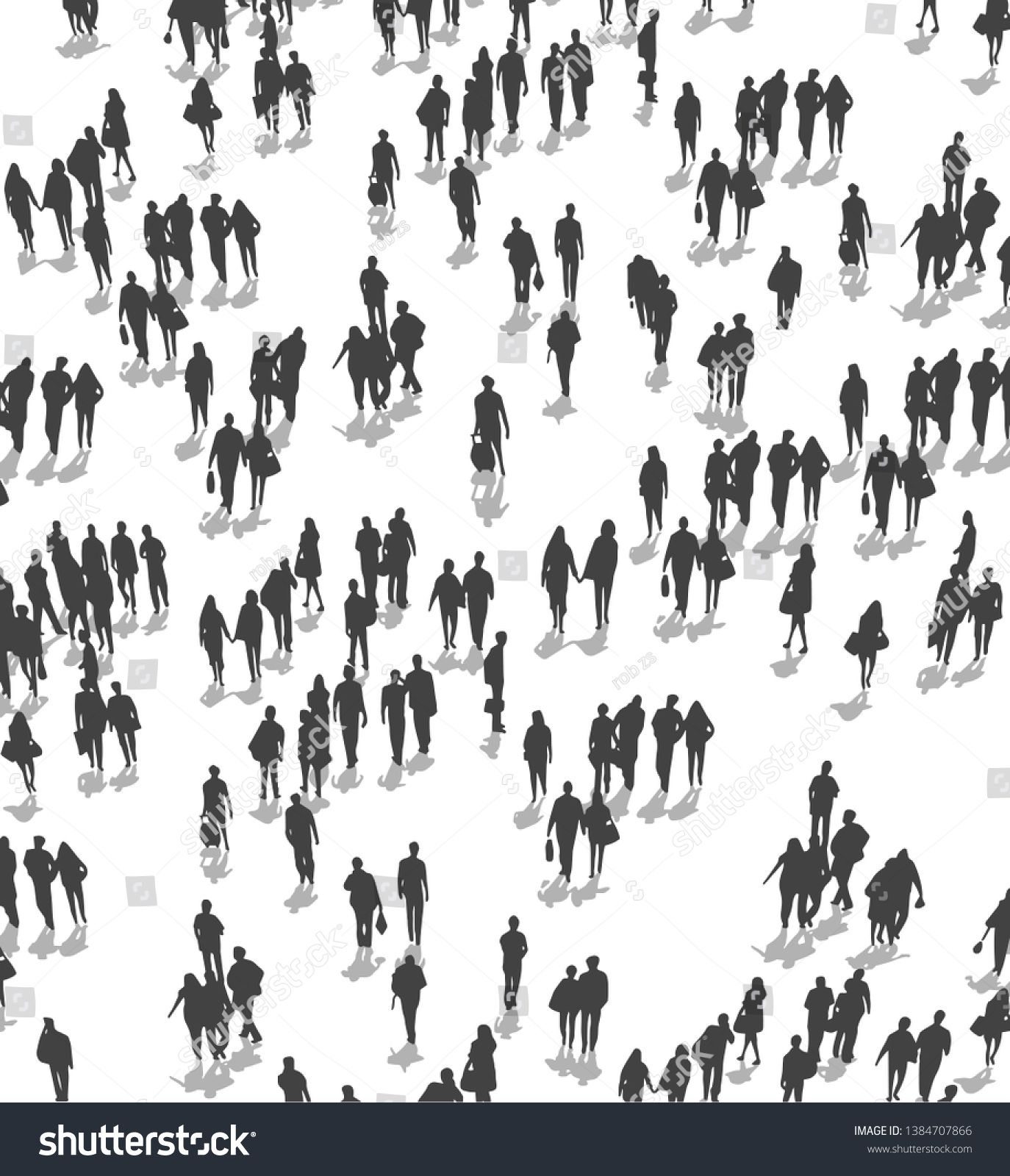 Vector Illustration Of Crowd Of People Walking From High Angle