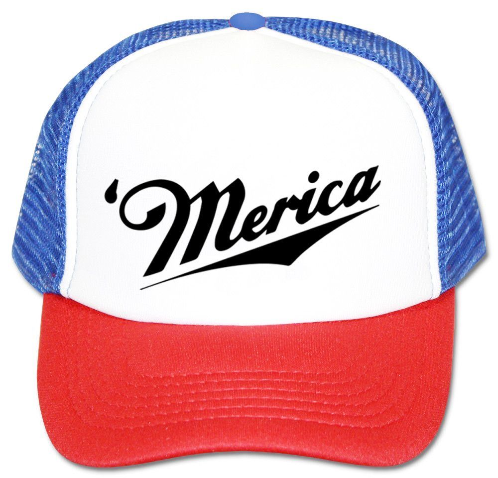 Merica Red White And Blue Trucker Hat Adjustable One Size Fits All. 1b4ea5521f2
