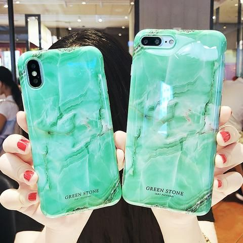 Lovebay Green Stone For iPhone 6 6s 7 8 Plus X Phone Case Fashion Marble  Painted 040eafd092034