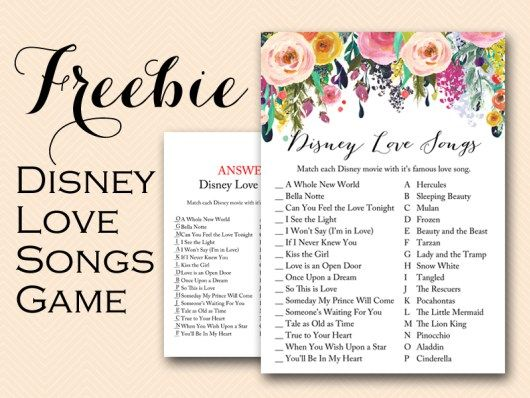 Free Printable Disney Love Songs Bridal Shower Games