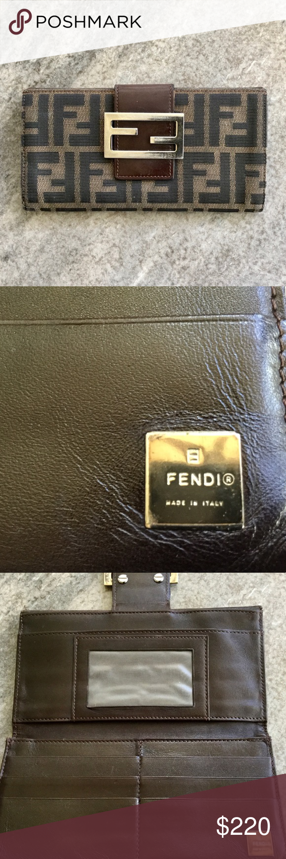 Authentic VINTAGE FENDI WALLET Brown In very good condition... please see photos! Fendi Bags Wallets #myposhpicks