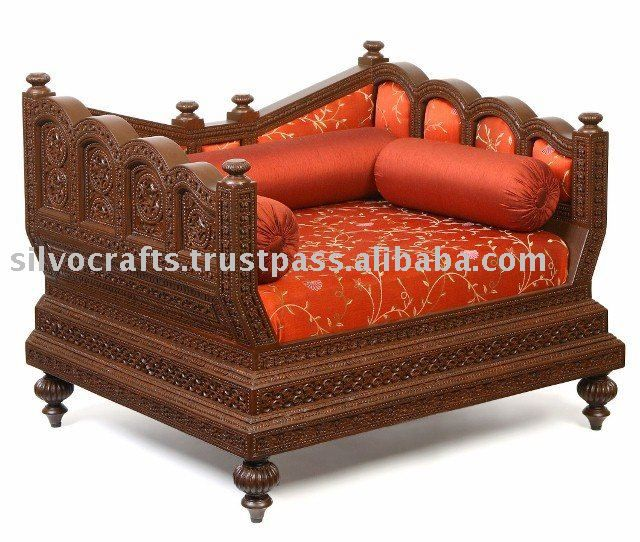 Indian Rajasthani Hand Carved Sofa Set By Classic Silvocrafts Carved Teak Furniture From