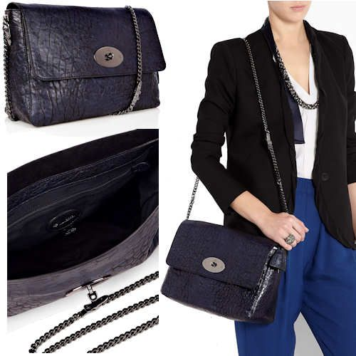 Mulberry Large Lambskin Lily with Buckle Chain in Midnight This new version  of the Lily from Mulberry is a much larger version and is made from soft  grained ... 49b05bd1df126