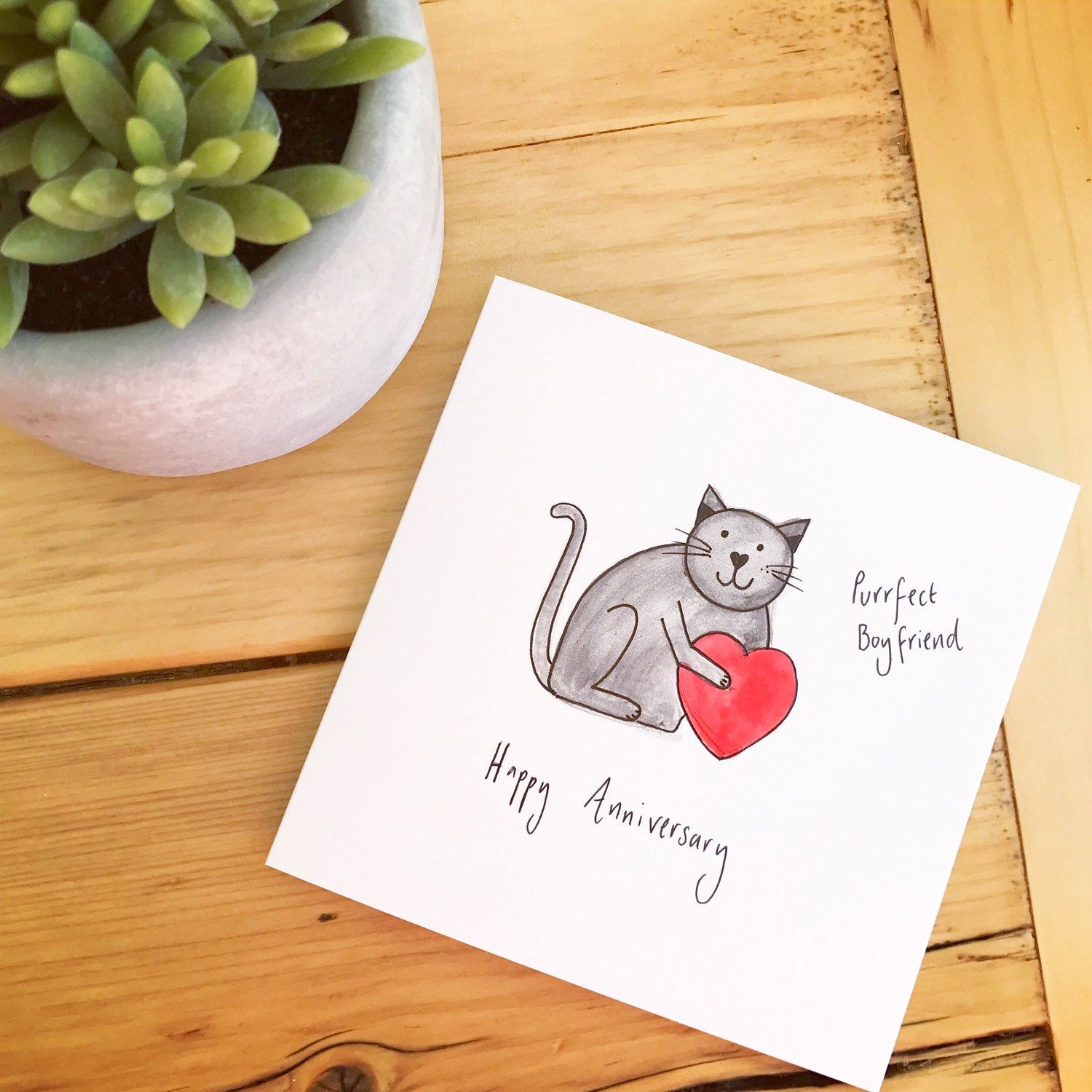 Haven't painted one of these for a while! Black cat purrfect boyfriend anniversary card  Matching girlfriend / wife ones available too