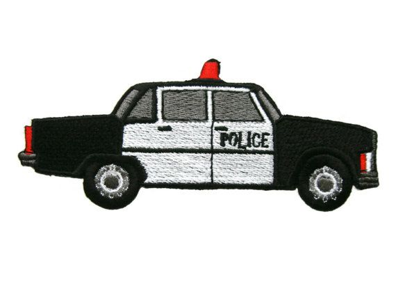 Police Car Embroidered Applique Iron on Patch