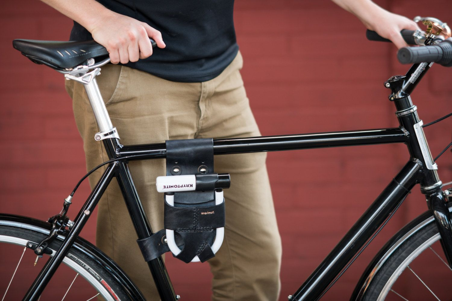 Bicycle U Lock Holster Frame Mounted Leather By Walnutstudiolo