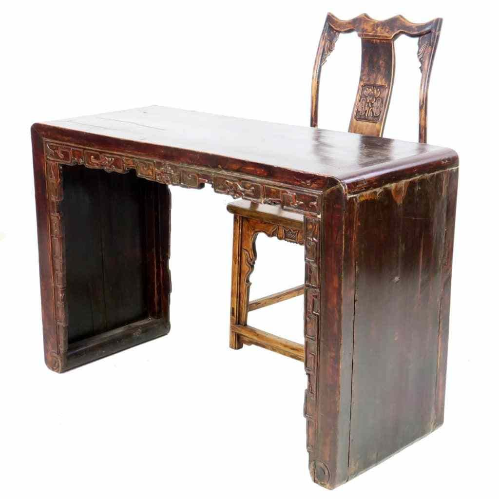Antique Chinese Carved Desk With Chair With Images Antique Chairs