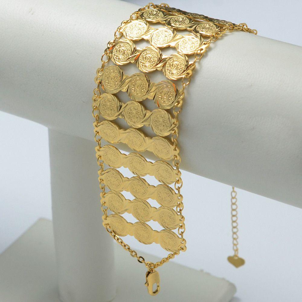 Arab coin bracelet gold plated wide bangle bracele jewelry