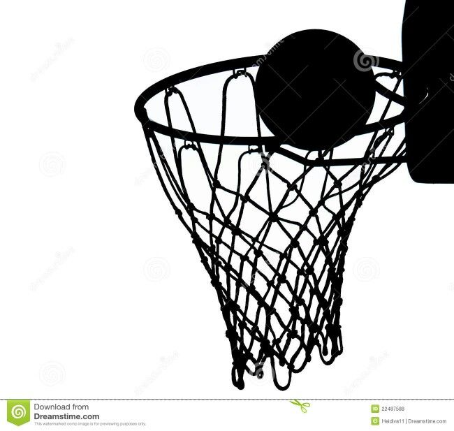 Basketball Hoop and Basket Ball Silhouette template, stencil