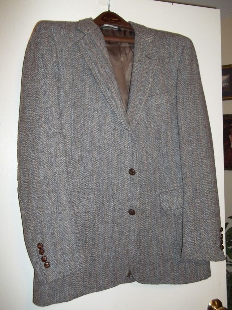 JOS A BANK HARRIS TWEED Wool Blazer Jacket HERRINGBONE
