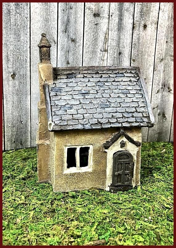 Beige Miniature Cottage Fairy Garden Miniature Garden Garden Decor Miniature Garden Acce
