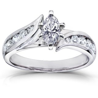 Annello 14k White Gold 1ct Tdw Marquise Diamond Engagement Ring H I I1 I2