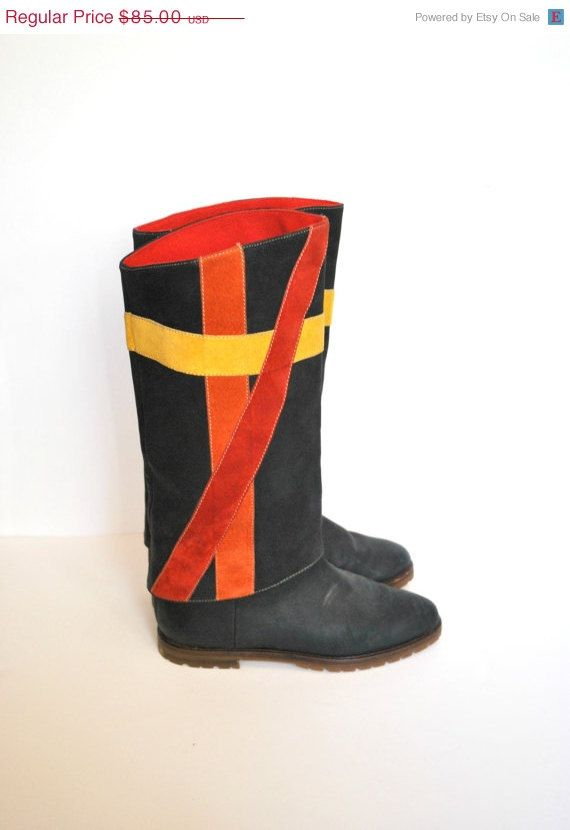 HOLIDAY SALE 80s Riding Boots/ Multicolor Pirate by miskabelle, $68.00 ~ WAY Funk - eh!