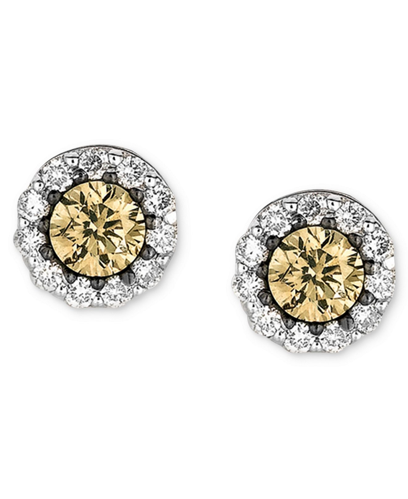 Le Vian White And Chocolate Diamond Stud Earrings In 14k Gold 1 2 Ct T W