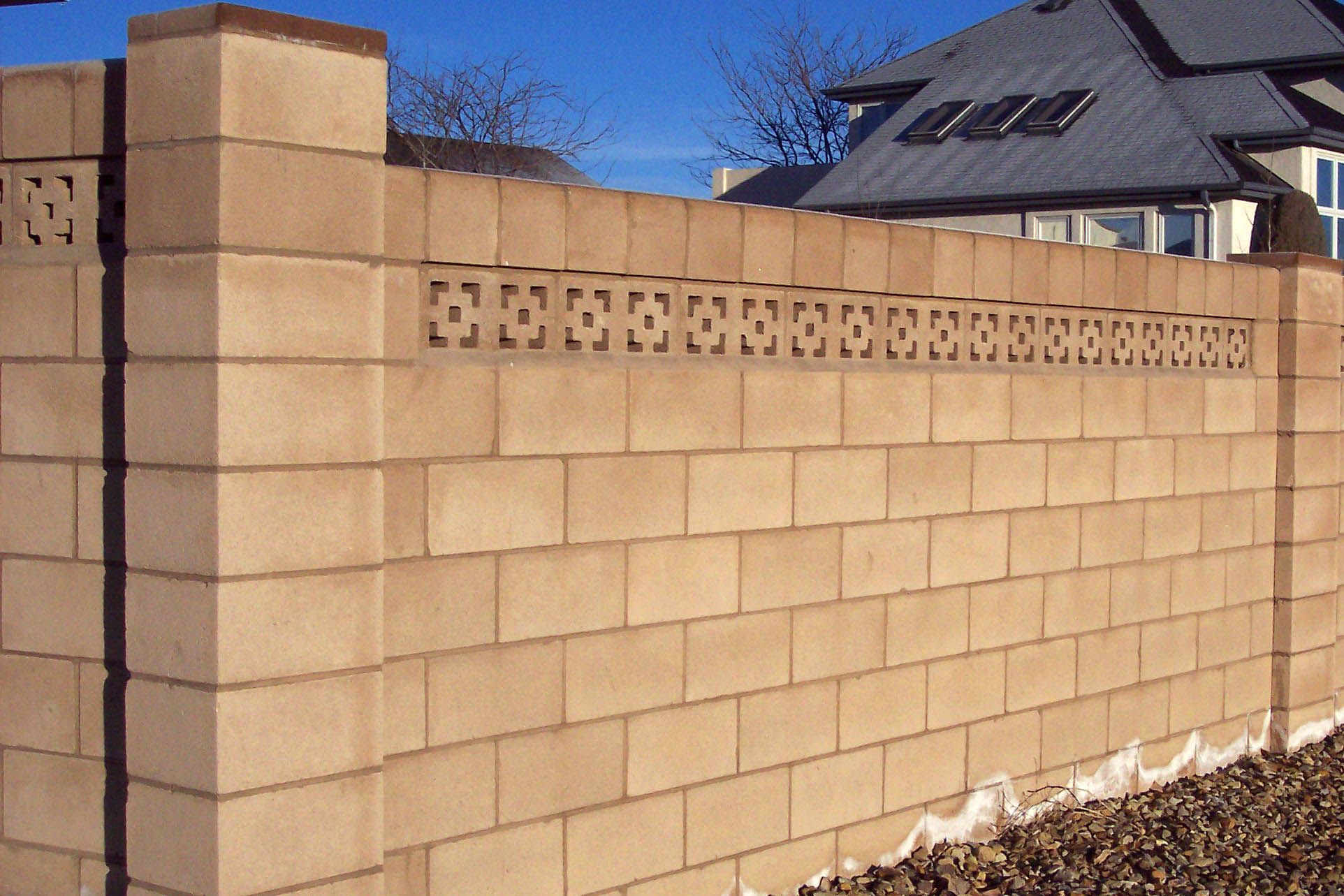 Exterior Design Natural Soft Brown Cement Block Fence Wall