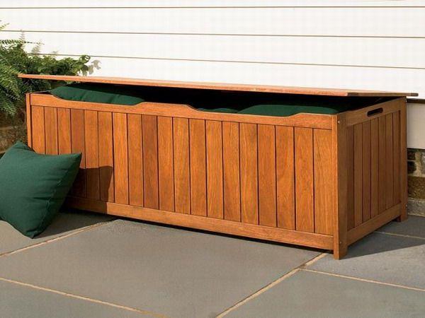 Outdoor Patio Cushion Storage Teak Wood 1173 Decor Ideas Bag