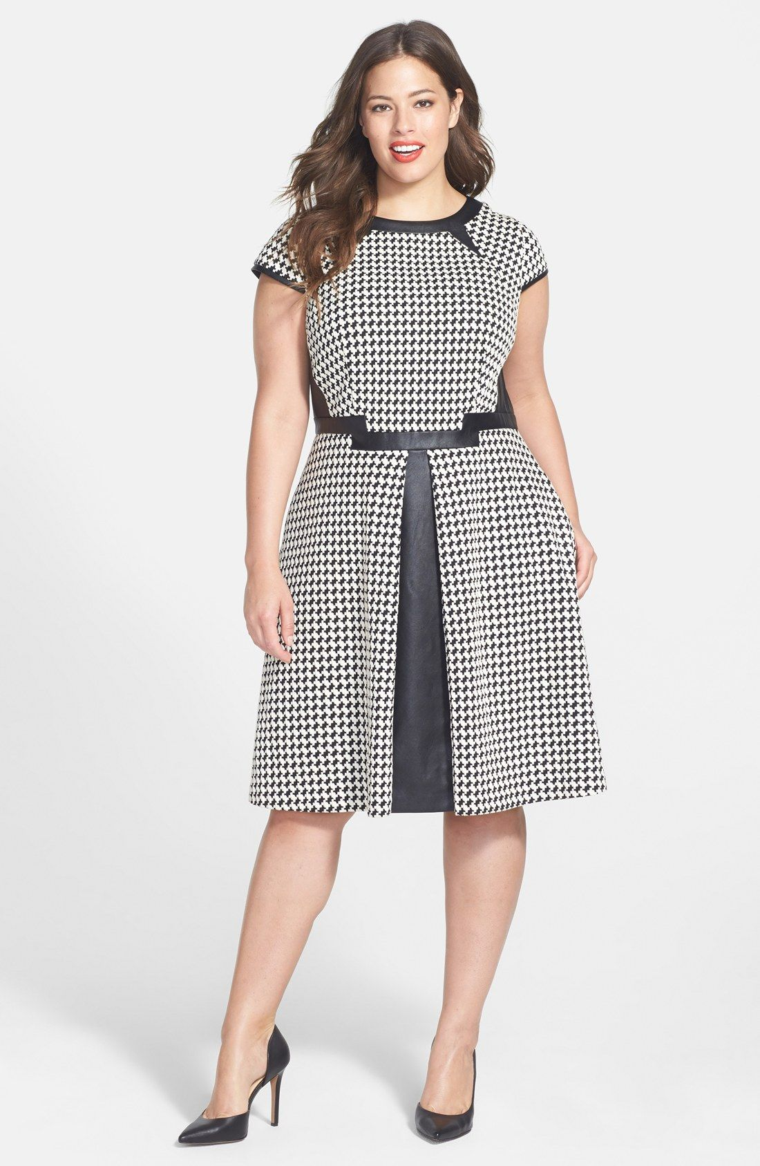 Free shipping and returns on Julia Jordan Houndstooth Fit & Flare