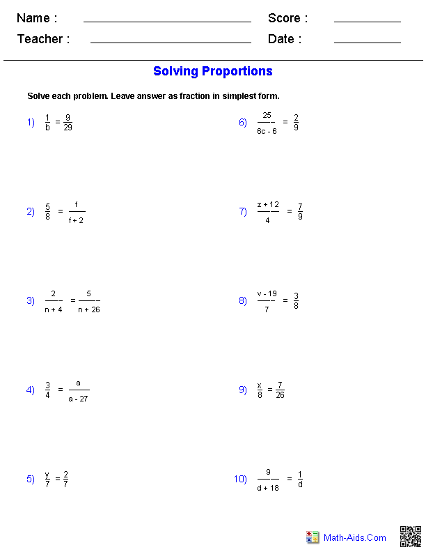 Solving Proportions Worksheets Math Rubric Pinterest