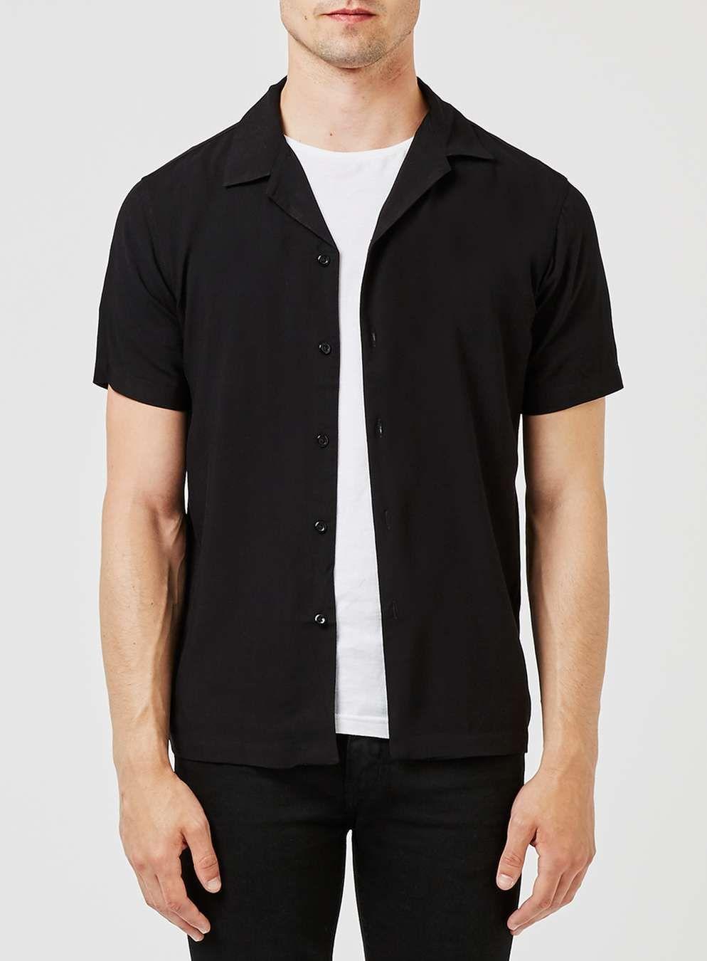 Black Revere Collar Short Sleeve Dress Shirt - Collared Shirts ...