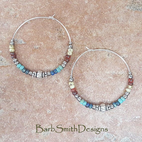 Beaded Turquoise Red Blue Yellow and Silver Aztec Hoop Earrings, Large 1 3/8 Diameter (AZT) #aztec