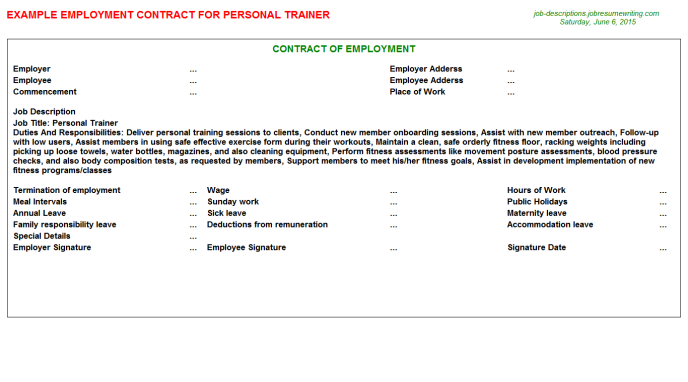 Printable Sample Personal Trainer Contract Form  Laywers Template