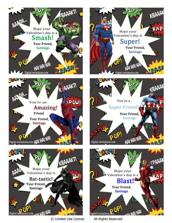 Personalized+Super+Hero+Valentine's+Cards+by+DigitalWorld1+on+Etsy