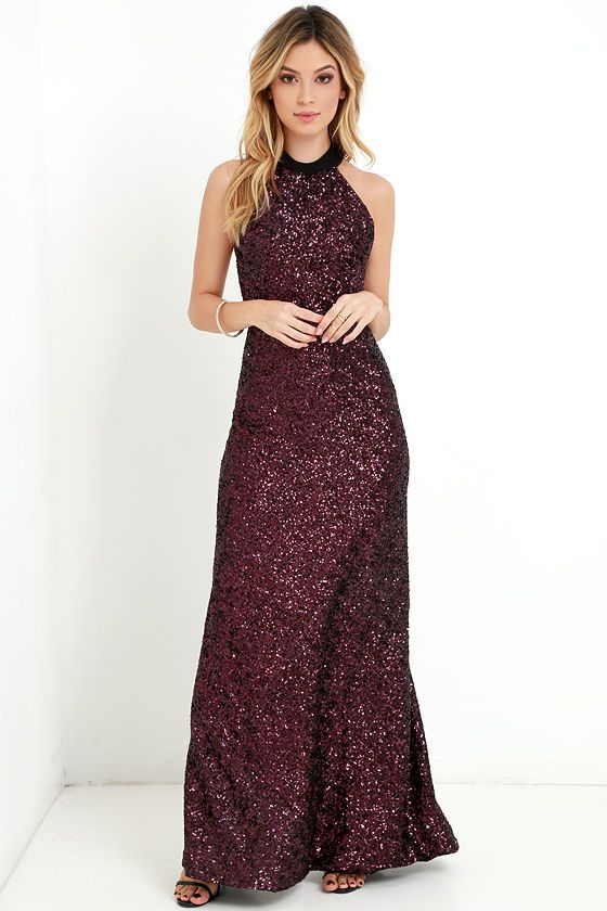 Head To Toe Black And Red Sequin Maxi Dress For Holiday Parties And