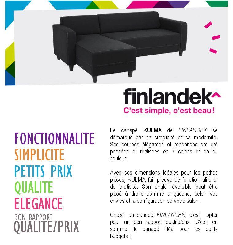 canap bon rapport qualit prix cheap finlandek canap duangle rversible kulma places euros xx cm. Black Bedroom Furniture Sets. Home Design Ideas