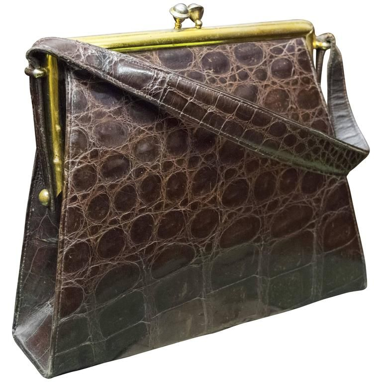 c833777dd5827f 1940s Brown Alligator Handbag | From a collection of rare vintage top  handle bags at https
