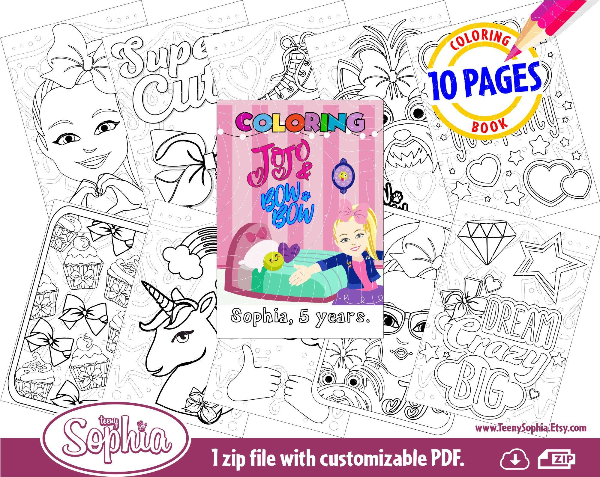 Jojo Siwa And Bow Bow Coloring Pages 10 Pages Pdf Digital File Personalized Coloring Book Craft Projects Coloring Pages