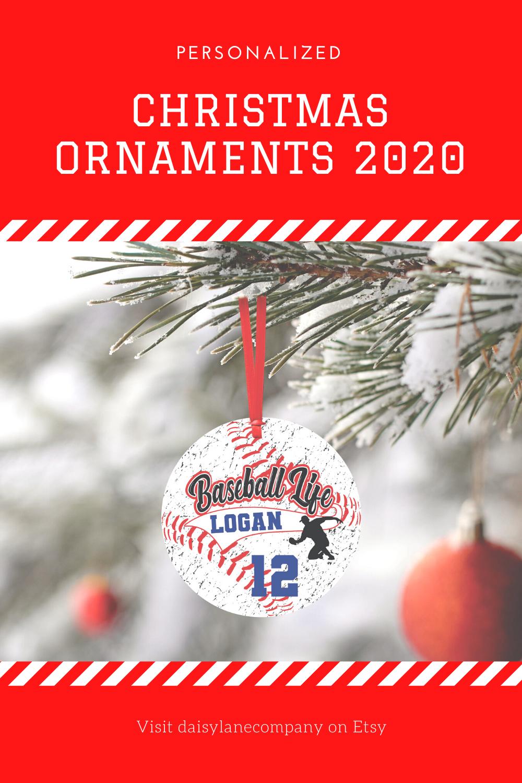 Personalized Baseball Ornament, Baseball Gifts, Christmas