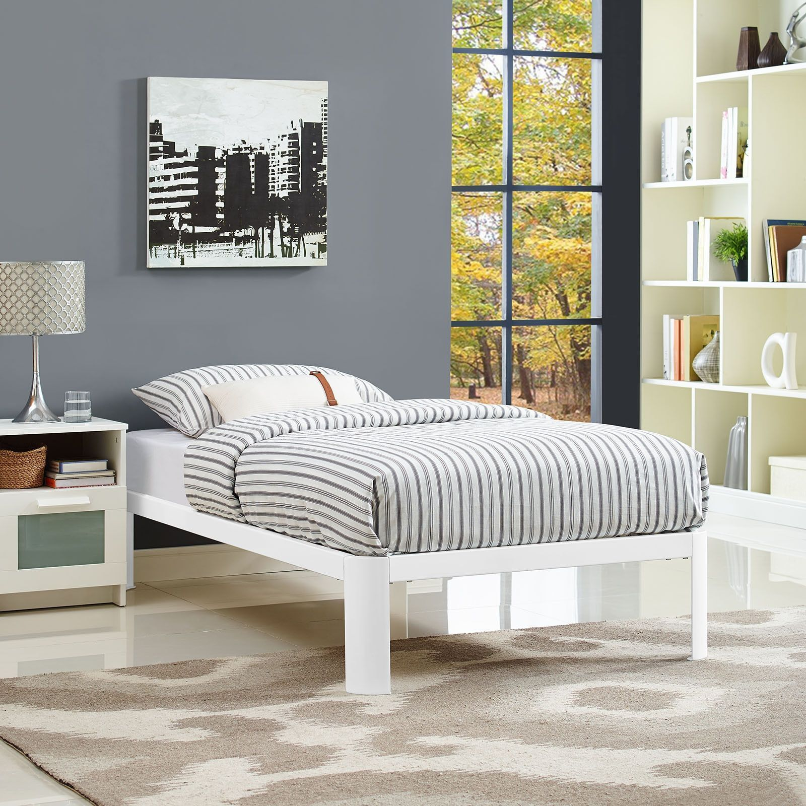corinne bed frame in white by modway  products beds and twin  - corinne bed frame in white by modway