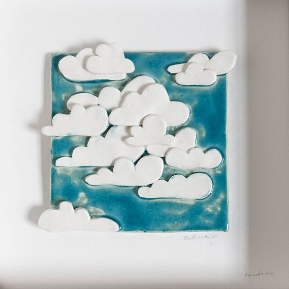 Clouds in the Sky, ceramic tile, decorative wall art for kids, unique pottery home decor, READY TO SHIP #ceramicpottery