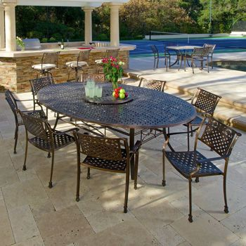 Tahoe 9 Piece Oval Dining Set With Lazy Susan Patio Outdoor