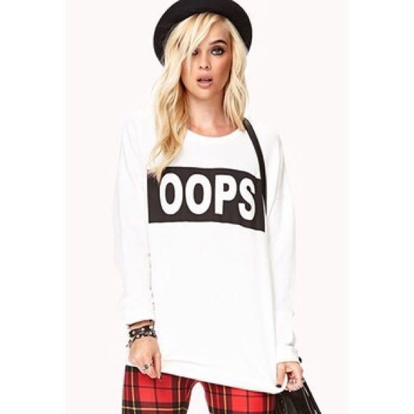 """""""oops"""" crew neck Worn once, but has a very small spot (in picture 3). Forever 21 Sweaters Crew & Scoop Necks"""