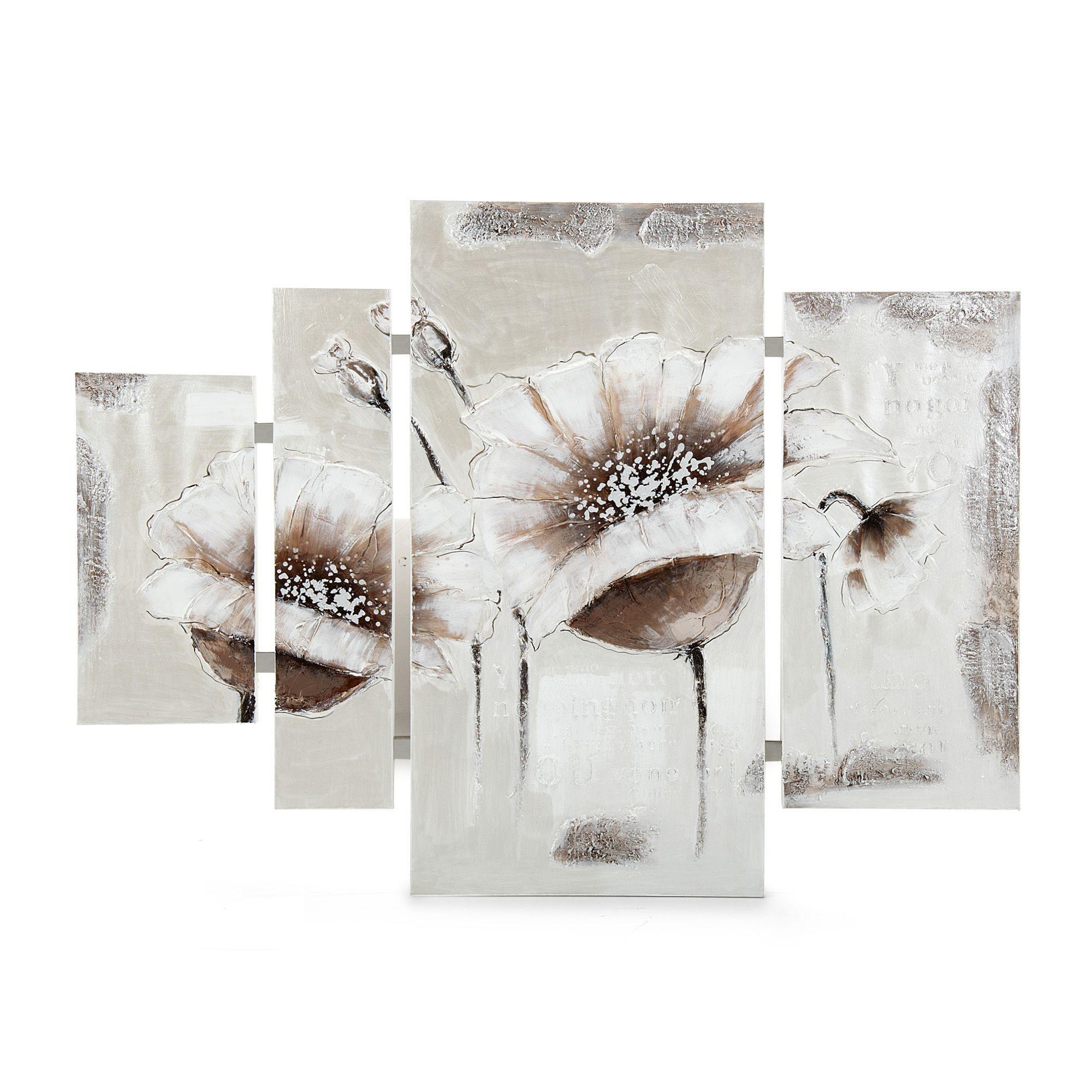 Ensemble de 4 peintures sur toile blanc malice toiles for Ensemble salon et salle a manger