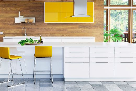 Best A Kitchen With White High Gloss Doors Drawers And Yellow 400 x 300